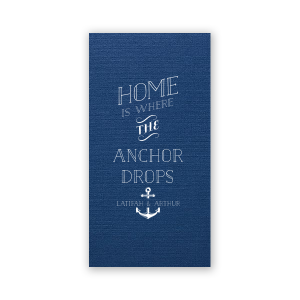 ForYourParty's personalized Linen Navy Blue Door Hanger with Matte White Foil has a Anchor Frame graphic and is good for use in Travel, Beach/Nautical, Father's Day themed parties and will give your party the personalized touch every host desires.
