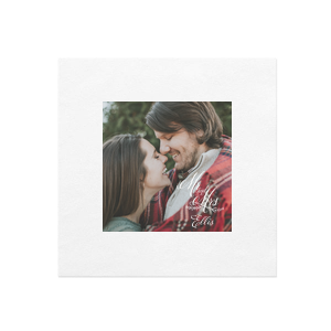 Our custom White Borderless Photo/Full Color Luncheon Napkin with Matte White Ink Digital Print Colors has a Mr And Mrs 3 graphic and is good for use in Wedding, Words, Anniversary themed parties and will impress guests like no other. Make this party unforgettable.