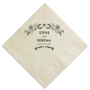 Our custom Ivory Cocktail Napkin with Matte Black Foil Color has a Sunflower Bouquet Accommodation graphic and is good for use in Wedding, Anniversary and Floral themed parties and can be customized to complement every last detail of your party.