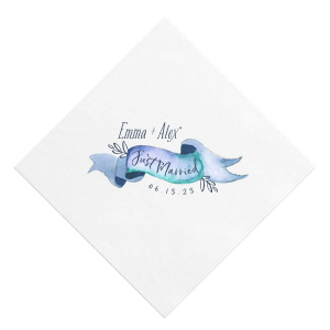 Just Married Banner Photo/Full Color Napkin