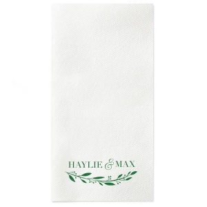 Custom White Linen Like Cocktail Napkin with Satin Leaf Foil has a Branch 4 graphic and is good for use in Floral, Wedding, and Bridal Shower themed parties and will make your guests swoon. Personalize your party's theme today.