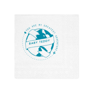 Our custom Woven White Woven Cocktail Napkin with Shiny Turquoise Foil has a World Badge graphic and is good for use in Wedding, Baby Shower, Travel themed parties and couldn't be more perfect. It's time to show off your impeccable taste.
