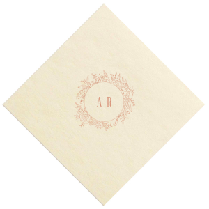 Our personalized Ivory Borderless Cocktail Napkin with Shiny Rose Gold Foil has a Peony Circle Frame graphic and is good for use in Floral, Frames, Wedding themed parties and will make your guests swoon. Personalize your party's theme today.
