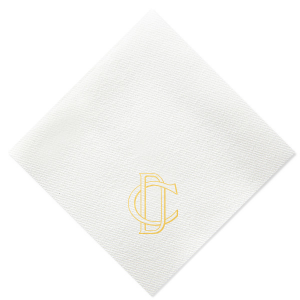 ForYourParty's elegant White Linen Like Cocktail Napkin with Shiny 18 Kt Gold Foil will look fabulous with your unique touch. Your guests will agree!