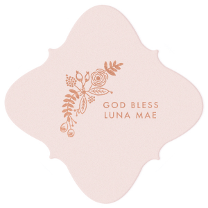 Our custom Blush with Kraft back Nouveau Coaster with Shiny Rose Gold Foil has a Rustic Floral Accent  and is good for use in  Wedding, Anniversary and Religious themed parties and will look fabulous with your unique touch. Your guests will agree!