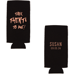 Personalized Black Flat Can Cooler with Matte Light Coral Ink Cup Ink Colors can be personalized to match your party's exact theme and tempo.