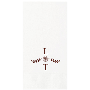 Our beautiful custom White Cocktail Napkin with Shiny Merlot Foil has a Sunflower Bouquet Accent graphic and is good for use in Wedding, Anniversary and Home parties and can be personalized to match your party's exact theme and tempo.