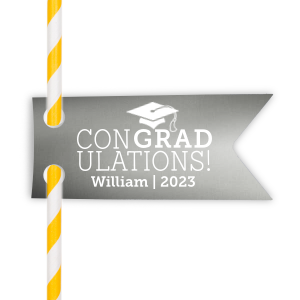 ForYourParty's personalized Metallic Sterling Silver Gloss Double Point Straw Tag with Matte White Foil has a Cap graphic and is good for use in Graduation themed parties and can't be beat. Showcase your style in every detail of your party's theme!