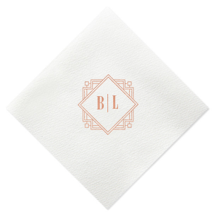 Our personalized Deco Diamond Frame cocktail napkins are truly fabulous. The clean design and the modern 2 letter monogram combine to create a modern classic custom wedding cocktail napkin. It's time to show off your good taste with your perfectly customized beverage napkins.