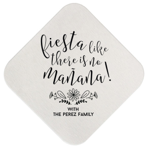 Personalized White Square Coaster with Matte Lipstick Red Foil has a Sunflower Floral graphic and fun Fiesta saying, what a great addition to your fun fiesta. Personalize your party's theme today.