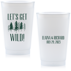 Personalize this cup for festive wedding barware that doubles as a party favor. Our Forest design and Matte Spruce print color make it perfect for a woodland or greenery themed wedding.