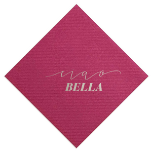 Custom Magenta Cocktail Napkin with Shiny Sterling Silver Foil Color has a Ciao graphic and is good for use in Words themed parties and can be personalized to match your party's exact theme and tempo.