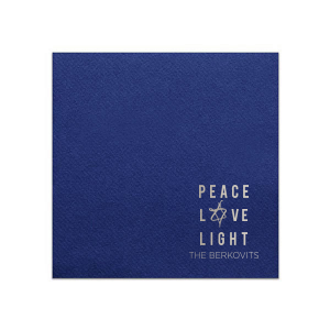 Our custom Navy Linen Like Dinner Napkin with Shiny Sterling Silver Imprint Foil Color has a Painted Star graphic and is good for use in Jewish Holiday themed parties and can be customized to complement every last detail of your party.