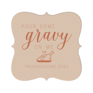 ForYourParty's chic Kraft with Blush back Nouveau Coaster with Satin Copper Penny Foil Color has a Plated Turkey graphic and is good for use in Food, Thanksgiving themed parties and will impress guests like no other. Make this party unforgettable.