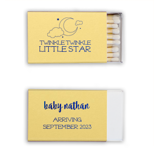 Customize these Yellow matches with shiny Turquoise foil for an adorable party accessory to your star and moon, lullaby, or nursery rhyme themed baby shower! Add the baby's name and expected arrival for a unique touch the mother will love and guests can take home as personalized party favors.