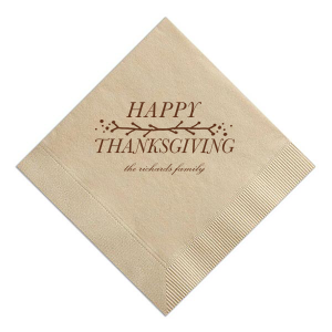 Custom Marble Sand Cocktail Napkin with Matte Chocolate Foil has a Leaf Vine graphic and is good for use in Thanksgiving themed parties and will give your party the personalized touch every host desires.