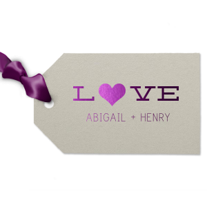 Our beautiful custom Natural Gray Luggage Gift Tag with Shiny Amethyst Foil Color has a Heart Solid graphic and is good for use in Hearts themed parties and can be personalized to match your party's exact theme and tempo.