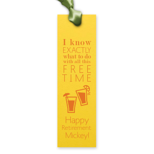 Our custom Poptone Yellow Rectangle Bookmark with Matte Tangerine Foil has a Drinks graphic and are a must-have for your next event—whatever the celebration!