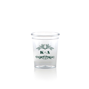 ForYourParty's chic Matte Spruce Plastic Shot Glass with Matte Spruce Print Color has a Rustic Leaf Frame graphic and is good for use in Frames themed parties and can be customized to complement every last detail of your party.