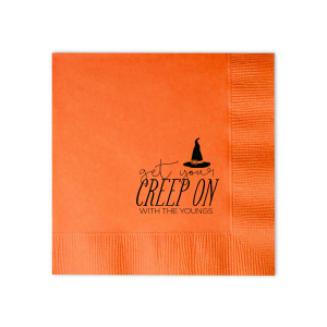 Our custom Tangerine Cocktail Napkin with Matte Black Foil has a Witch's Hat graphic and is good for use in Halloween themed parties and are a must-have for your next event—whatever the celebration!