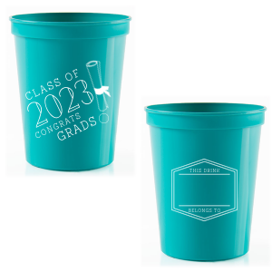 ForYourParty's personalized Teal 16 oz Stadium Cup with Matte White Ink Cup Ink Colors has a Graduation Scroll graphic and a Badge Frame 1 graphic and is good for use in Frames themed parties and will impress guests like no other. Make this party unforgettable.