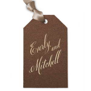 Our custom Stardream Espresso Brown Luggage Gift Tag with Matte Ivory Foil will make your guests swoon. Personalize your party's theme today.