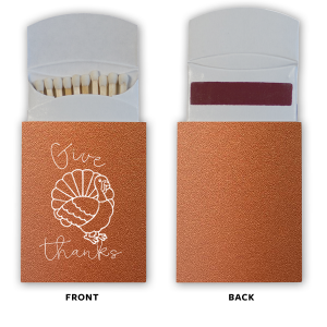 Our custom Stardream Copper Barrel Matchbox with Matte White Foil Color has a Live Turkey graphic and is good for use in Holiday, Thanksgiving themed parties and will give your party the personalized touch every host desires.