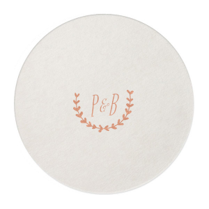 Our custom Eggshell Round Coaster with Shiny Rose Gold Foil has a Branch 1 graphic and is good for use in Frames themed parties and can be customized to complement every last detail of your party.