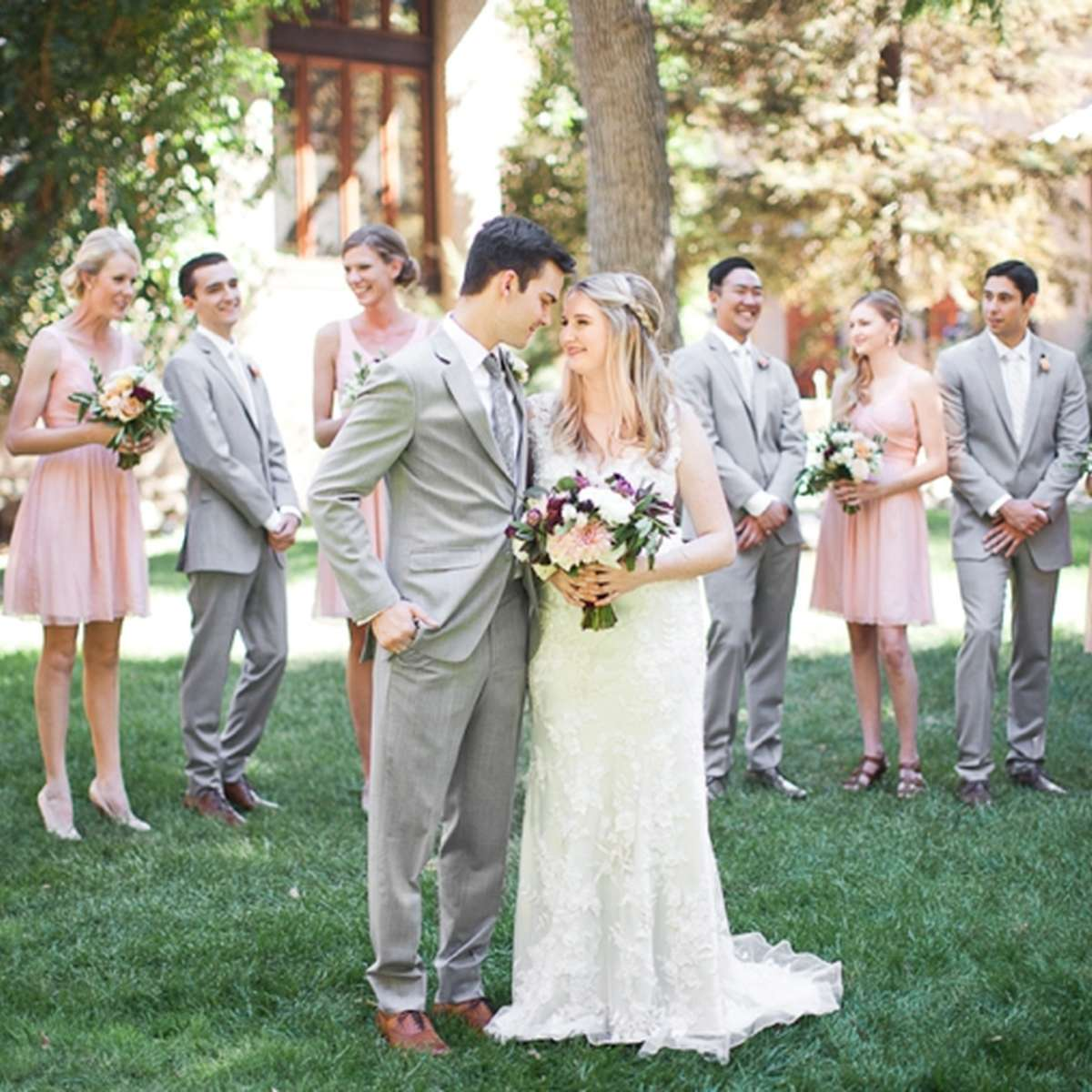 Blushing Color Palette Wedding Party Photo
