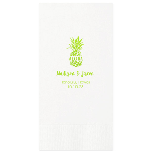 Custom White Cocktail Napkin with Matte Key Lime Foil has an Aloha graphic and is good for use at a Destination Wedding and will give your party the personalized touch every host desires.