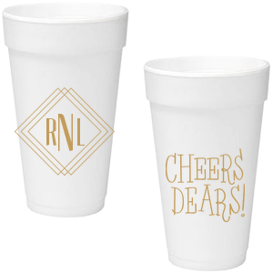 Our custom Gold Ink 16 oz Foam Cup with Gold Ink Screen Print has a Diamond Frame graphic and a Cheers dears graphic and is good for use at home or for Birthday and Dinner parties and will give your party the personalized touch every host desires.