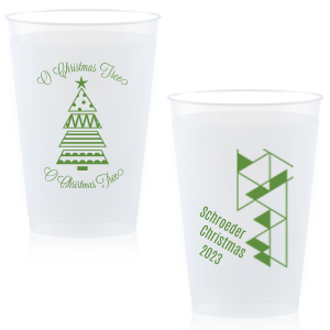 Our personalized Matte Moss Green Ink 16 oz Frost Flex Cup with Matte Moss Green Ink Print Color has a Geo Christmas Tree 2 graphic and a Triangles2RSVP graphic and is good for use in Lovely Press themed parties and will make your guests swoon. Personalize your party's theme today.