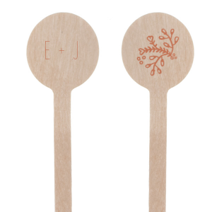 ForYourParty's personalized Satin Copper Penny Round Stir Stick with Satin Copper Penny Foil Color has a Marigold Flourish graphic and is good for use in Accents themed parties and can be customized to complement every last detail of your party.