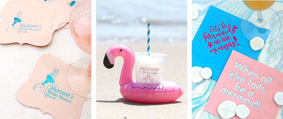 mermaid themed party supplies like plastic party cups and mermaid napkins