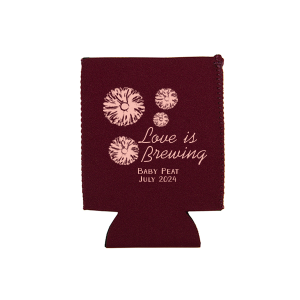 Personalized Maroon Round Can Cooler with Matte Pastel Pink Ink Cup Ink Colors has a Wild Flower Napkin graphic and is good for use in Cid Pear themed parties and can be personalized to match your party's exact theme and tempo.