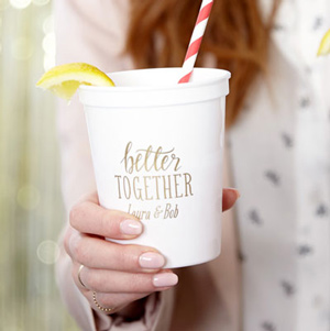 ForYourParty's elegant Powder Blue 16 oz Stadium Cup with Matte White Ink Cup Ink Colors has a Better Together graphic and is good for use in Words, Pairs, Hearts themed parties and can be personalized to match your party's exact theme and tempo.