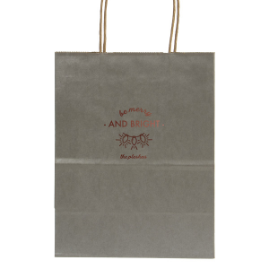 Custom Metallic Silver Gift Bag with Shiny Merlot Foil Color has a Lights graphic and is good for use in Holiday, Christmas themed parties and will give your party the personalized touch every host desires.