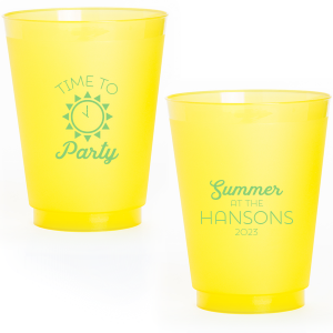 Our personalized Frost Flex Cup with Matte Key Lime Ink Cup Ink Colors has a Sun  graphic and is good for use in Beach, Pool and Nautical themed parties and will make your guests swoon. Personalize your party's theme today.