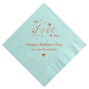 Personalized Aqua Cocktail Napkin with Satin Copper Penny Foil has a Love Hearts graphic and is good for use in Words, Wedding, Anniversary themed parties and will give your party the personalized touch every host desires.