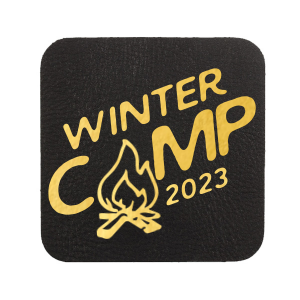 ForYourParty's elegant White Square Coaster with Shiny 18 Kt Gold Foil has a Campfire graphic and is good for use in Outdoors, Southwestern, Father's Day themed parties and are a must-have for your next event—whatever the celebration!