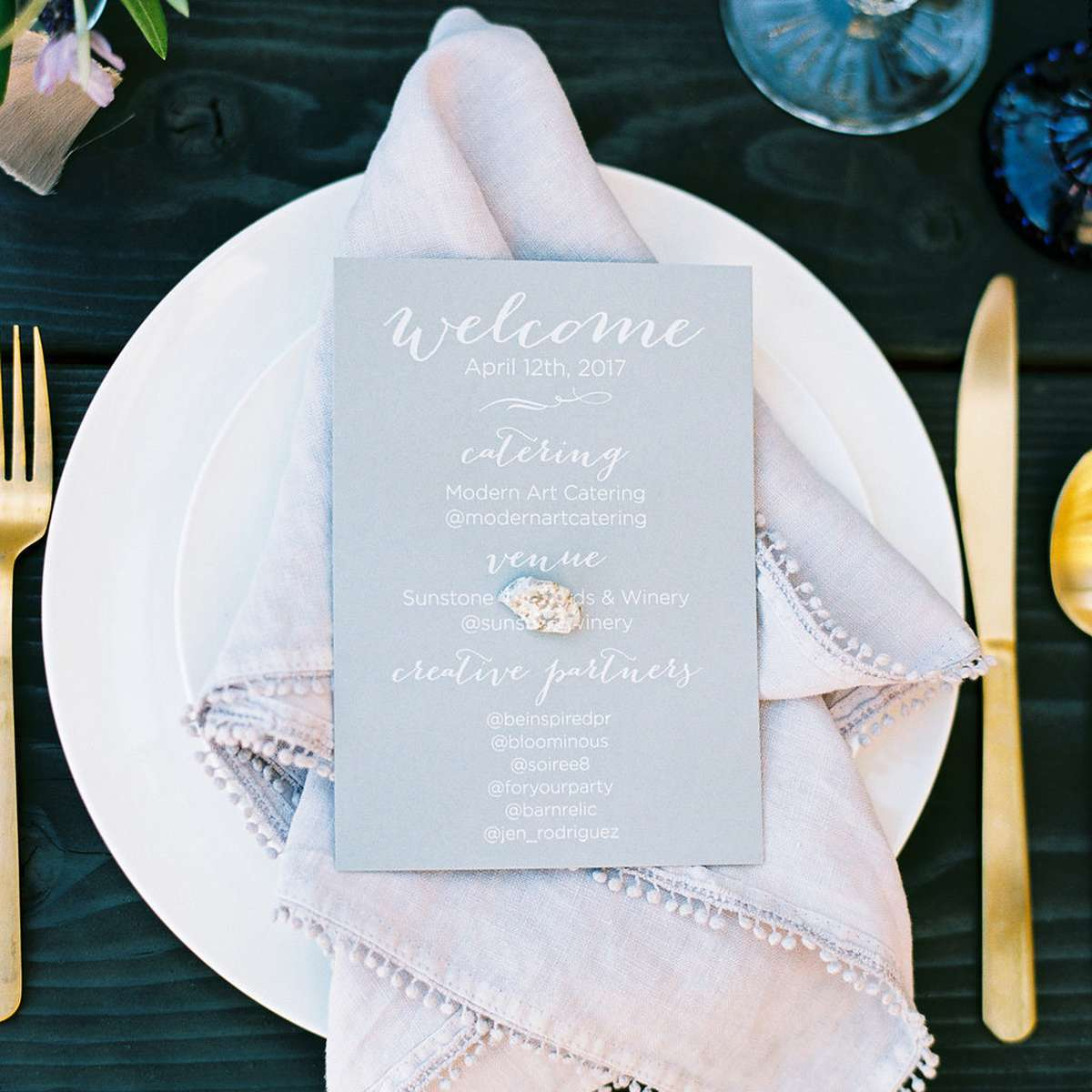 personalized dinner menu with calligraphy font