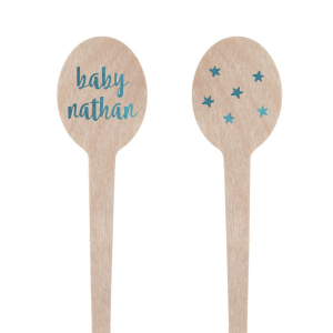 Personalize stir sticks as sweet as the soon-to-be-arriving baby! The blue foil paired with a modern script font and three little stars will make a darling addition to your star, lullaby, or nursery rhyme themed baby shower. Use in themed drinks, as cupcake toppers or as mini kebabs.