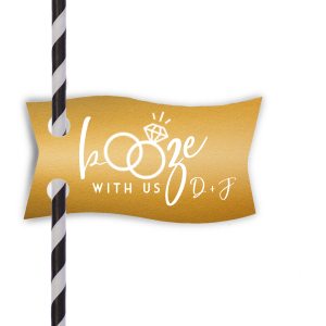 Our beautiful custom Metallic 18 Karat Matte Gold Double Point Straw Tag with Matte White Foil has a Wedding Rings 2 graphic and is good for use in Wedding themed parties and will give your party the personalized touch every host desires.