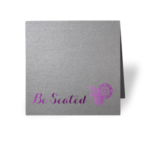 ForYourParty's personalized Stardream Galvanized Silver Tempo Place Card with Shiny Amethyst Foil has a Geo Flowers graphic and is good for use in Floral themed parties and will impress guests like no other. Make this party unforgettable.