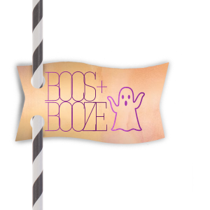 Custom Watercolor Sunrise Double Point Straw Tag with Shiny Amethyst Foil has a Ghost graphic and is good for use in Halloween themed parties and will make your guests swoon. Personalize your party's theme today.