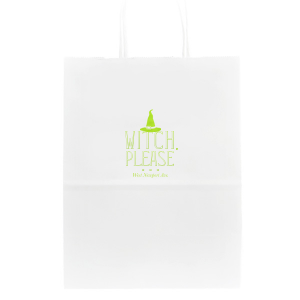 Our custom White Party Bag with Shiny Kiwi / Lime Foil has a Witch's Hat graphic and is good for use in Halloween themed parties and will look fabulous with your unique touch. Your guests will agree!