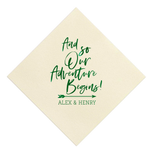ForYourParty's personalized Sand Cocktail Napkin with Shiny Leaf Foil has a Arrow graphic and is good for use in Engagement, Wedding, and Milestone themed parties and will add that special attention to detail that cannot be overlooked.