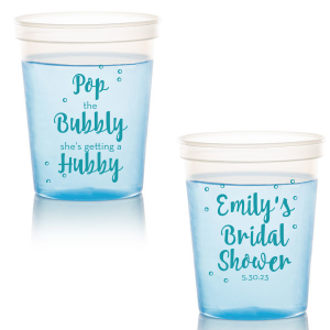 Pop the bubbly, she's getting a hubby! Pour in style with these custom plastic cups. Enjoy throughout the bridal shower, and send them home with guests as personalized party favors.