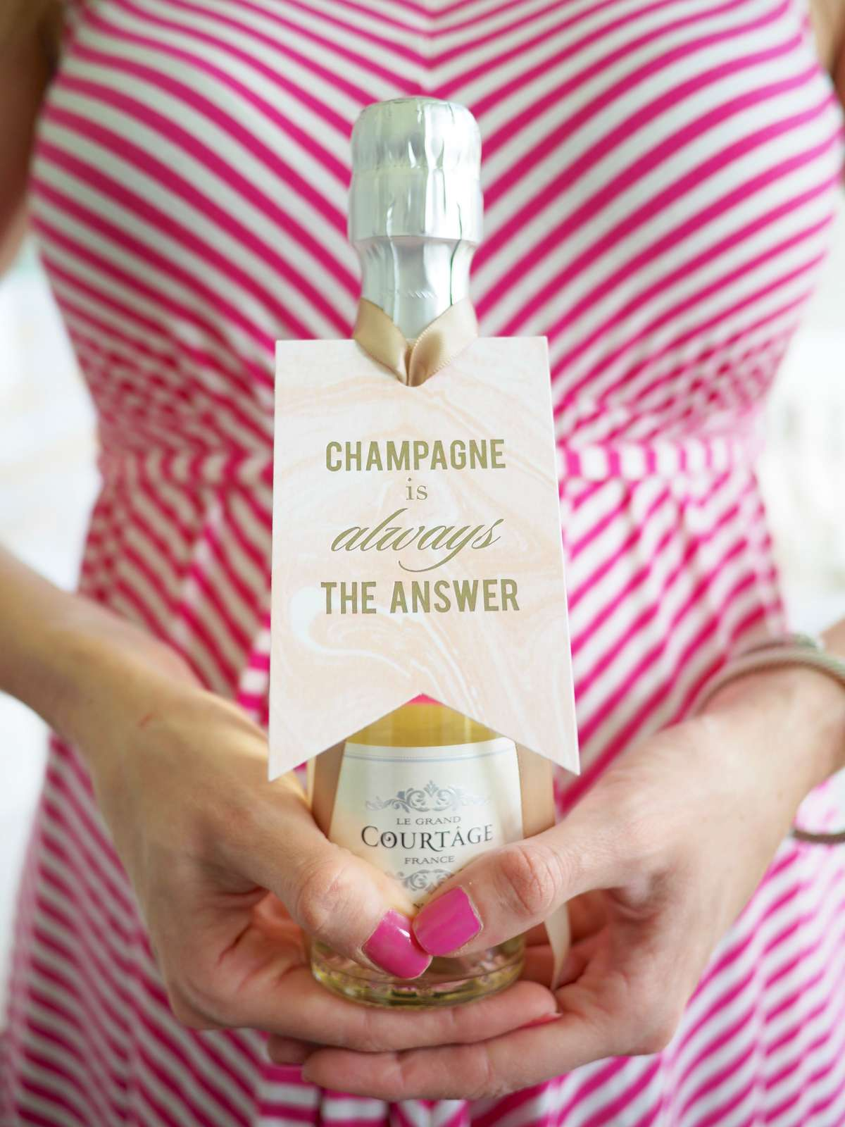 personalized champagne gift tags