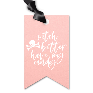 ForYourParty's chic Poptone Ballet Pink Luggage Gift Tag with Matte White Foil has a Skull & Crossbones graphic and is good for use in Halloween themed parties and will impress guests like no other. Make this party unforgettable.